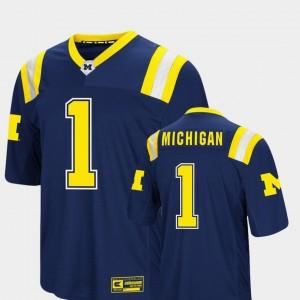 Men's Michigan #1 Foos-Ball Football Colosseum college Jersey - Navy