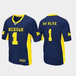 Men's Max Power Football #1 University of Michigan college Jersey - Navy