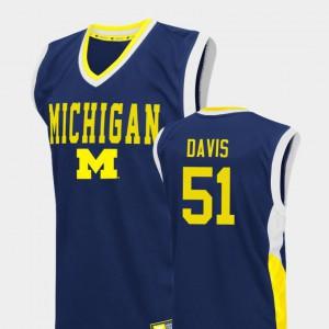 Men Basketball Wolverines #51 Fadeaway Austin Davis college Jersey - Blue