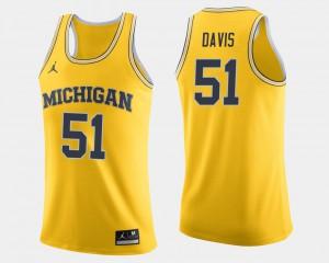 Men's #51 Basketball U of M Austin Davis college Jersey - Maize