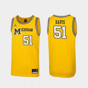 Men 1989 Throwback Basketball #51 Michigan Replica Austin Davis college Jersey - Maize