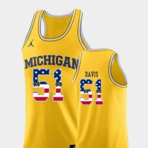 Mens Basketball U of M USA Flag #51 Austin Davis college Jersey - Yellow