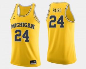 Men Michigan Basketball #24 C.J. Baird college Jersey - Maize