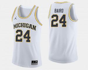 Mens Michigan Basketball #24 C.J. Baird college Jersey - White