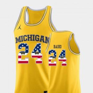 Men's USA Flag #24 Michigan Wolverines Basketball C.J. Baird college Jersey - Yellow