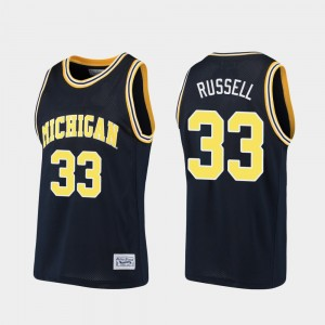 Mens U of M Alumni Basketball #33 Cazzie Russell college Jersey - Navy