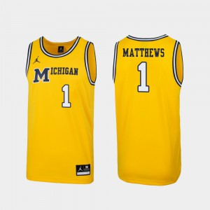 Men #1 Wolverines 1989 Throwback Basketball Replica Charles Matthews college Jersey - Maize
