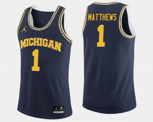 Mens U of M #1 Basketball Charles Matthews college Jersey - Navy