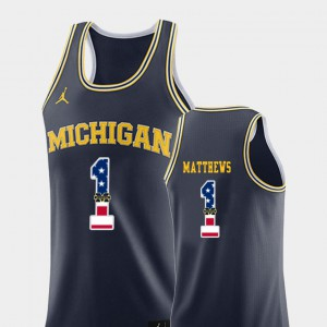 Men's Michigan USA Flag #1 Basketball Charles Matthews college Jersey - Navy