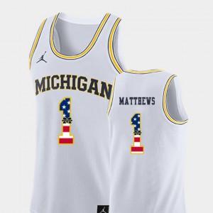 Mens USA Flag Basketball #1 University of Michigan Charles Matthews college Jersey - White