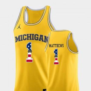 Men #1 USA Flag Michigan Basketball Charles Matthews college Jersey - Yellow