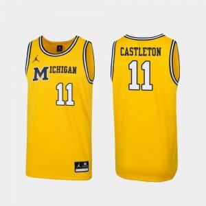 Men #11 1989 Throwback Basketball Replica University of Michigan Colin Castleton college Jersey - Maize