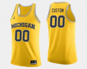 Men Michigan Wolverines #00 Basketball college Custom Jersey - Maize