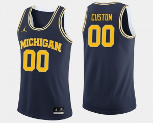 Men's U of M #00 Basketball college Custom Jerseys - Navy