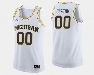 Mens #00 Basketball Michigan college Customized Jerseys - White