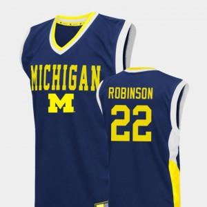 Men Michigan #22 Basketball Fadeaway Duncan Robinson college Jersey - Blue