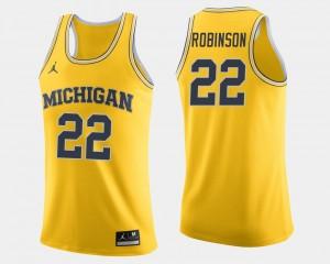 Men's #22 Basketball University of Michigan Duncan Robinson college Jersey - Maize