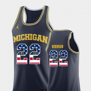 Men USA Flag Basketball #22 Michigan Duncan Robinson college Jersey - Navy