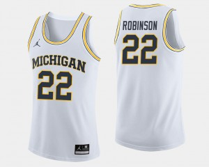 Men's U of M #22 Basketball Duncan Robinson college Jersey - White