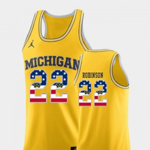 Men's #22 USA Flag Basketball U of M Duncan Robinson college Jersey - Yellow