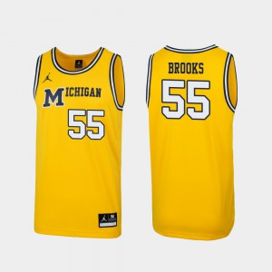 Mens Wolverines 1989 Throwback Basketball #55 Replica Eli Brooks college Jersey - Maize