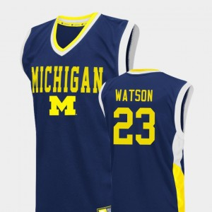 Men Fadeaway U of M #23 Basketball Ibi Watson college Jersey - Blue