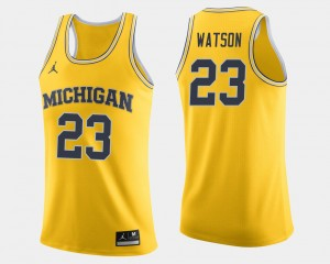 Men's Michigan Basketball #23 Ibi Watson college Jersey - Maize