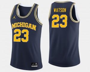 Mens #23 Ibi Watson college Jersey - Navy Basketball Wolverines
