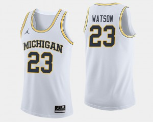 Men Basketball U of M #23 Ibi Watson college Jersey - White
