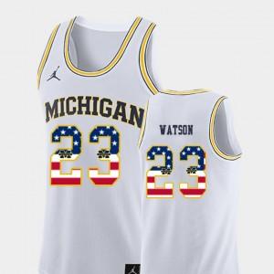 Mens #23 Basketball University of Michigan USA Flag Ibi Watson college Jersey - White