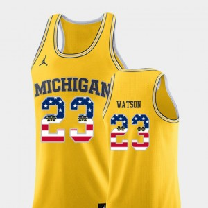 Men's #23 Basketball USA Flag U of M Ibi Watson college Jersey - Yellow