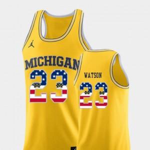 Men's #23 Basketball USA Flag U of M Ibi Watson college Jersey - Yellow