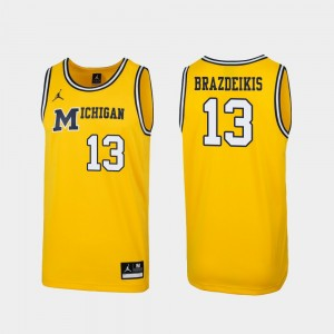 Mens Replica #13 1989 Throwback Basketball U of M Ignas Brazdeikis college Jersey - Maize