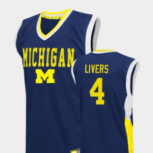 Mens Basketball #4 Michigan Wolverines Fadeaway Isaiah Livers college Jersey - Blue