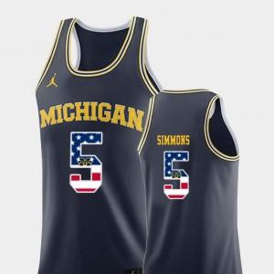 Men's U of M Basketball #5 USA Flag Jaaron Simmons college Jersey - Navy