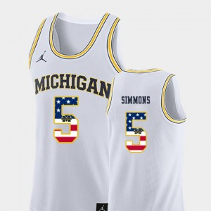 Men #5 Basketball Michigan USA Flag Jaaron Simmons college Jersey - White