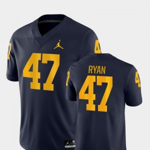 Men's Football #47 Game Michigan Wolverines Jake Ryan college Jersey - Navy