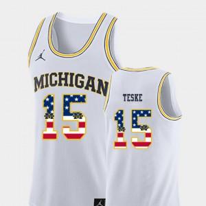 Men's Basketball #15 Michigan USA Flag Jon Teske college Jersey - White