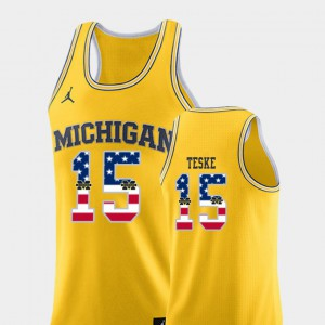 Men's #15 Basketball Michigan USA Flag Jon Teske college Jersey - Yellow