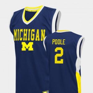 Men #2 Fadeaway Basketball Michigan Jordan Poole college Jersey - Blue