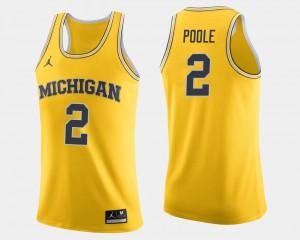 Mens #2 Basketball Michigan Jordan Poole college Jersey - Maize