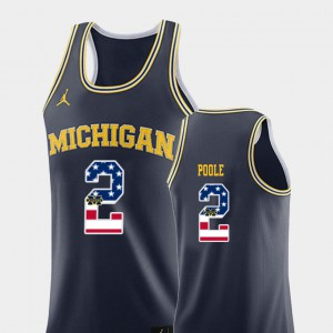 Men's U of M USA Flag #2 Basketball Jordan Poole college Jersey - Navy