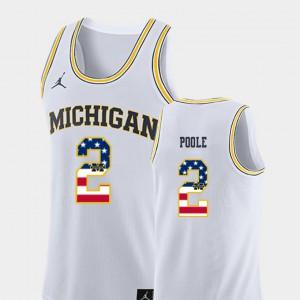 Men Michigan USA Flag #2 Basketball Jordan Poole college Jersey - White