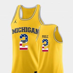 Men's #2 Michigan USA Flag Basketball Jordan Poole college Jersey - Yellow
