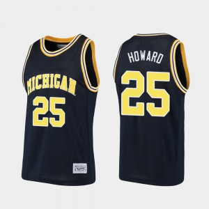 Men #25 Juwan Howard college Jersey - Navy Alumni Basketball Wolverines
