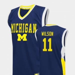 Mens #11 Basketball Fadeaway U of M Luke Wilson college Jersey - Blue