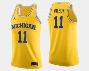 Mens Basketball #11 Michigan Luke Wilson college Jersey - Maize