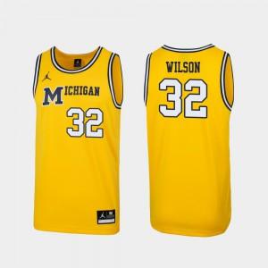 Mens Replica University of Michigan #32 1989 Throwback Basketball Luke Wilson college Jersey - Maize