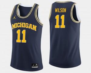 Men's Michigan Basketball #11 Luke Wilson college Jersey - Navy