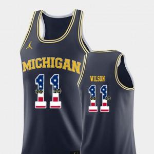 Men USA Flag #11 Basketball Wolverines Luke Wilson college Jersey - Navy